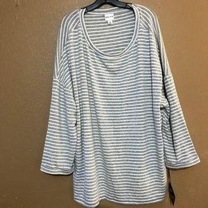 Ava Viv Top Womens Plus Size 4X Stripes White Gray